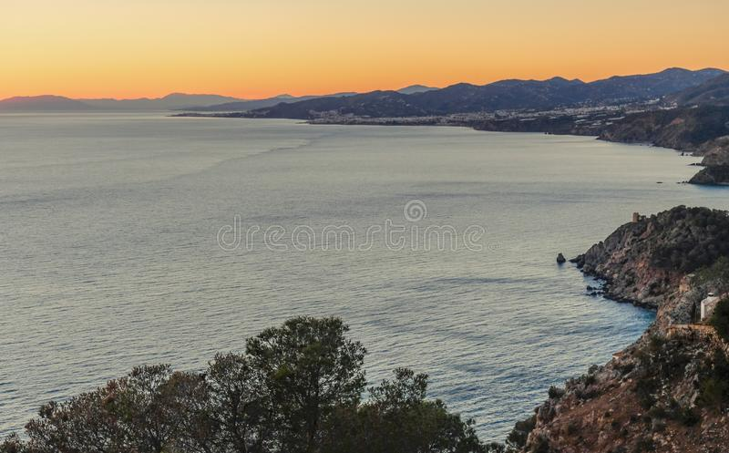 Взгляд побережья Nerja стоковая фотография rf