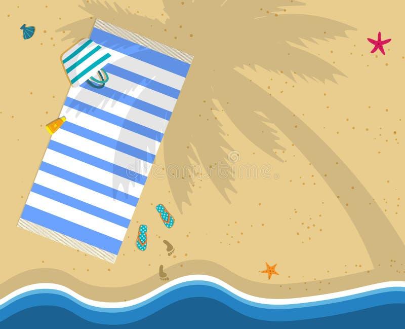 Взгляд сверху пляжа моря с полотенцем, сумкой, темповыми сальто сальто иллюстрация штока