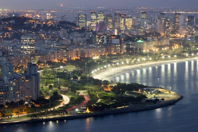Взгляд сверху Enseada de Botafogo и пляжа Flamengo, Рио-де-Жанейро, Бразилии стоковые изображения