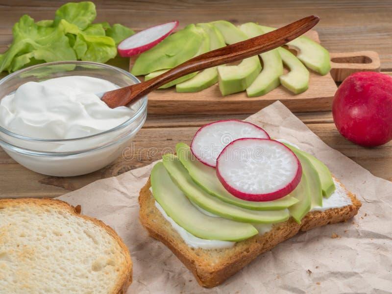 Взгляд тоста с йогуртом, авокадоом и редиской конец вверх сфокусируйте мягко стоковое изображение rf