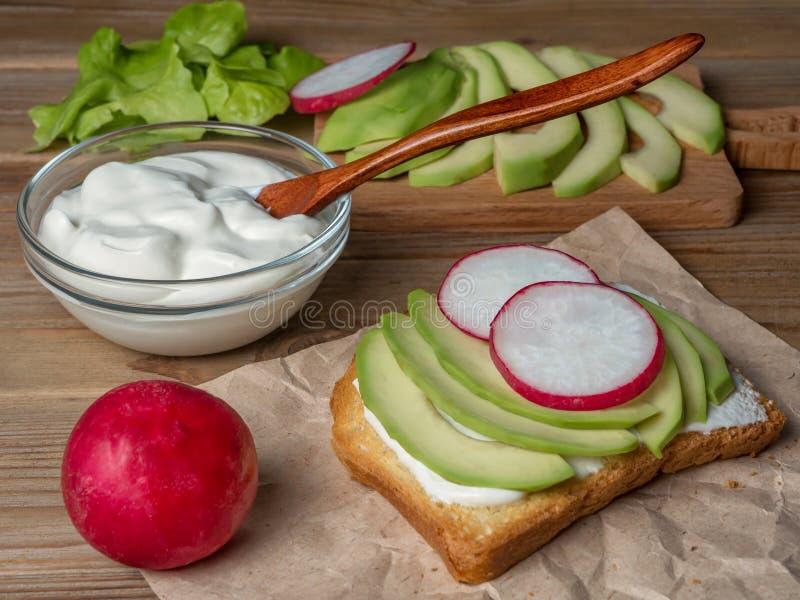 Взгляд тоста с йогуртом, авокадоом и редиской конец вверх сфокусируйте мягко стоковые изображения
