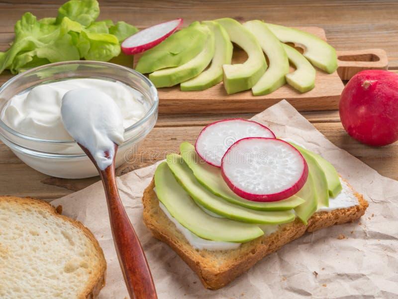 Взгляд тоста с йогуртом, авокадоом и редиской конец вверх сфокусируйте мягко стоковое изображение