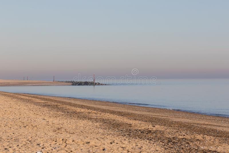 Взгляд East Anglia горизонта побережья Норфолка английский прибрежный стоковое фото