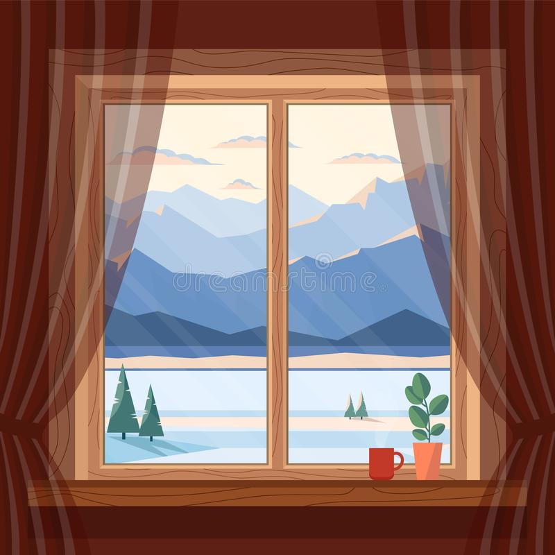 Взгляд окна гор утра и вечера голубых, снега, спруса и реки в зиме, на зоре, заход солнца в уютном доме бесплатная иллюстрация
