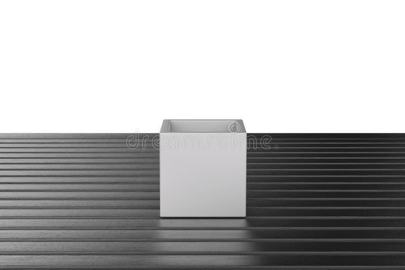Взгляд открытой коробки с верхней частью деревянного стола на белизне иллюстрация вектора