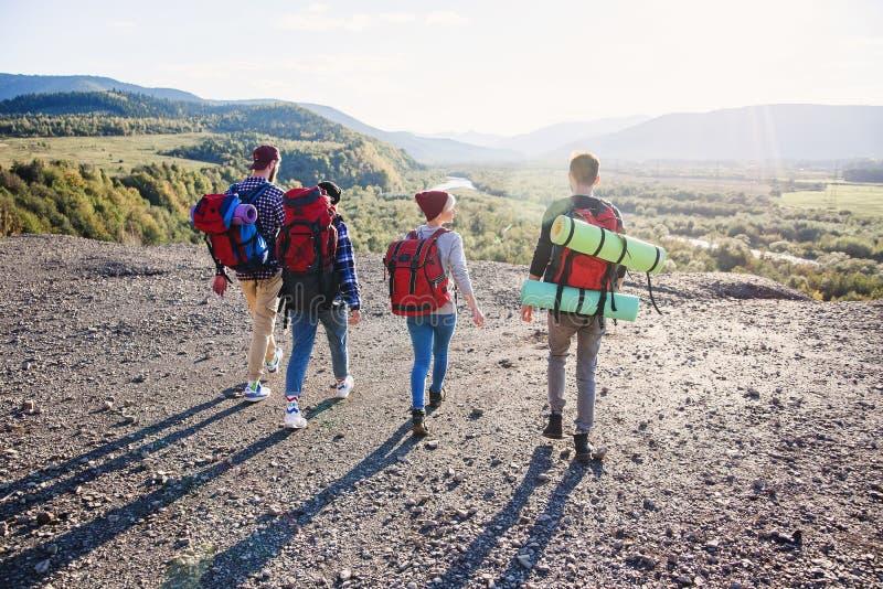 Взгляд от задней части 4 друзей хипстера с рюкзаком перемещения держа руки и бежать вперед к горе на заходе солнца стоковое изображение rf