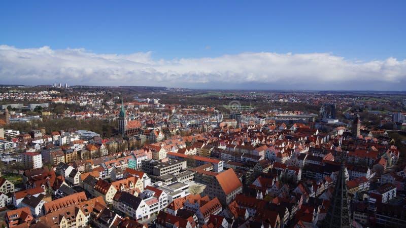 Взгляд Ulm над старым кварталом города сверху стоковые фотографии rf