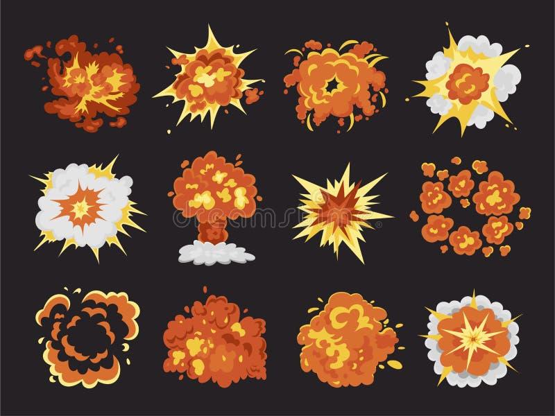 Взрыв бомбы и набор мультфильма челки огня иллюстрация вектора