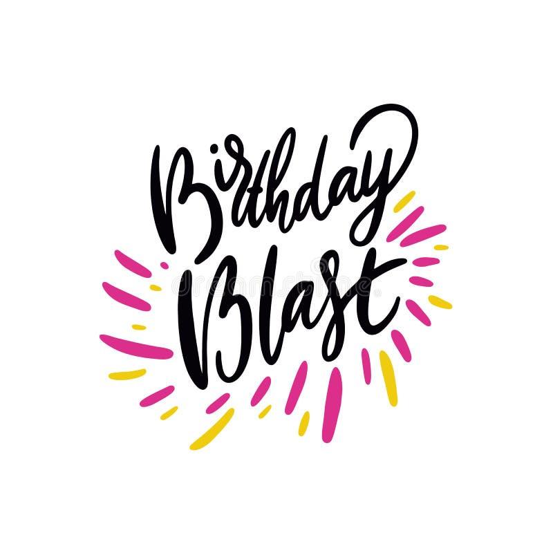 Взрыв дня рождения поет Иллюстрация и литерность вектора руки вычерченные Тип шаржа Изолировано на предпосылке бесплатная иллюстрация