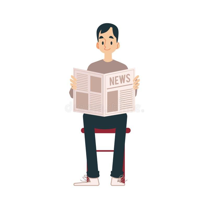 Взрослый человек сидит на стуле в его брюках и читает газету с новостями иллюстрация штока
