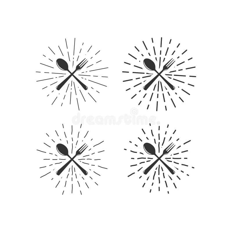 Вилка и ложка с sunburst иллюстрация вектора