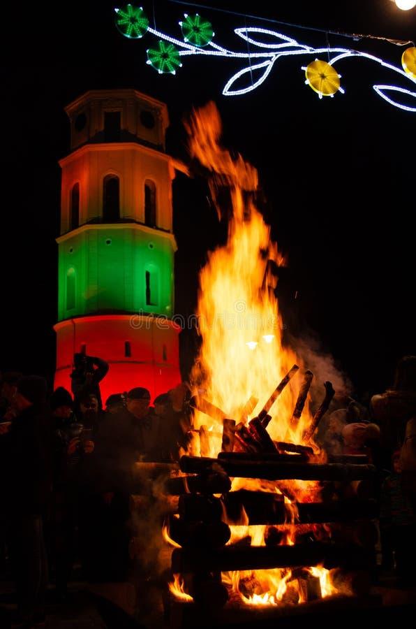 Вильнюс, Литва, 16-ое февраля, День независимости стоковые изображения