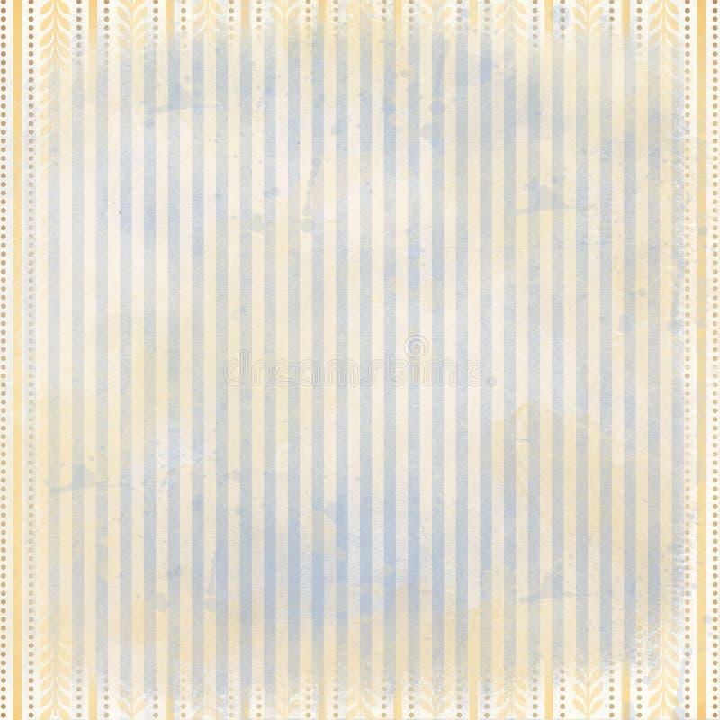 Винтажная голубая и желтая предпосылка пинстрайпа - французский стиль Provencial - Провансаль иллюстрация штока