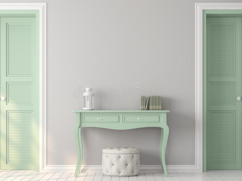 Винтажная комната с пастельным серым и зеленым цветом 3d представить иллюстрация вектора
