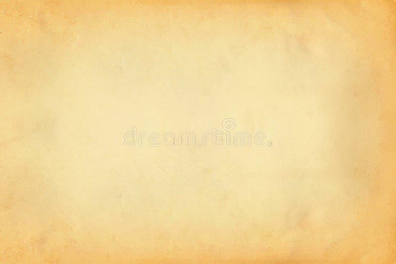 Винтажная старая желтая и коричневая бумажная предпосылка текстуры пергамента стоковые фотографии rf