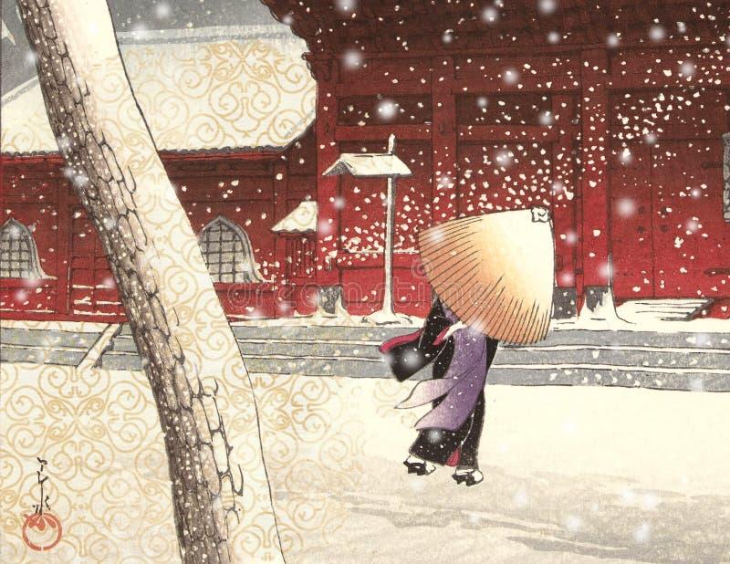 Винтажная японская куртизанка - сцена города Snowy - сцена улицы - Япония - XVIII век иллюстрация штока