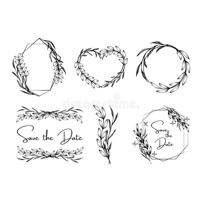 Винтажные шаблоны приглашения свадьбы иллюстрация штока