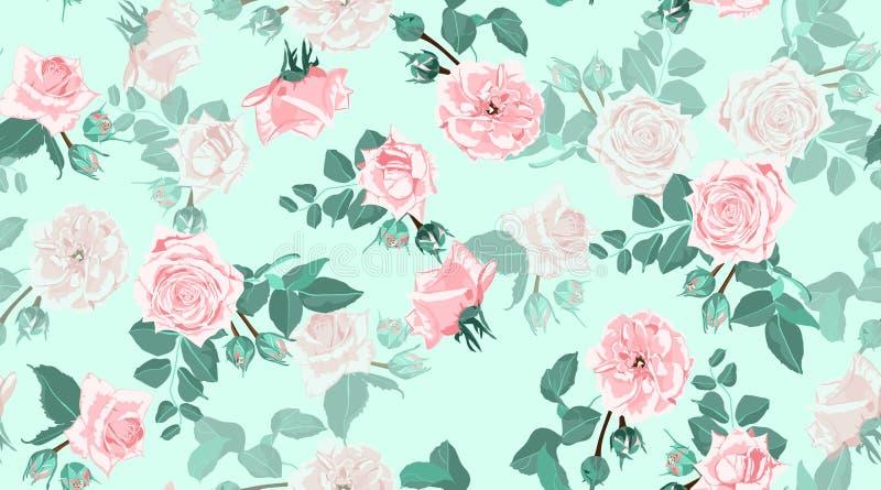 Винтажные розы, безшовный цветочный узор стоковые изображения rf