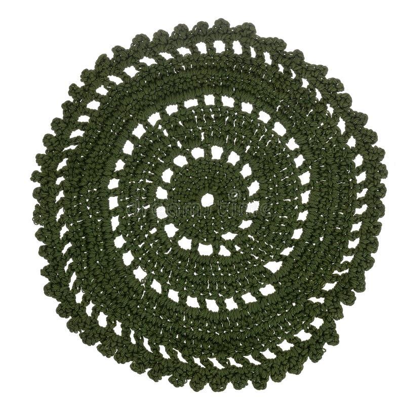 Винтажный зеленый круг вязания крючком, круглый doily, изолированный на белизне корабль handmade стоковое изображение