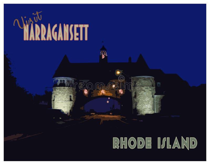 Винтажное посещение Narragansett, плакат Род-Айленда стоковое фото rf