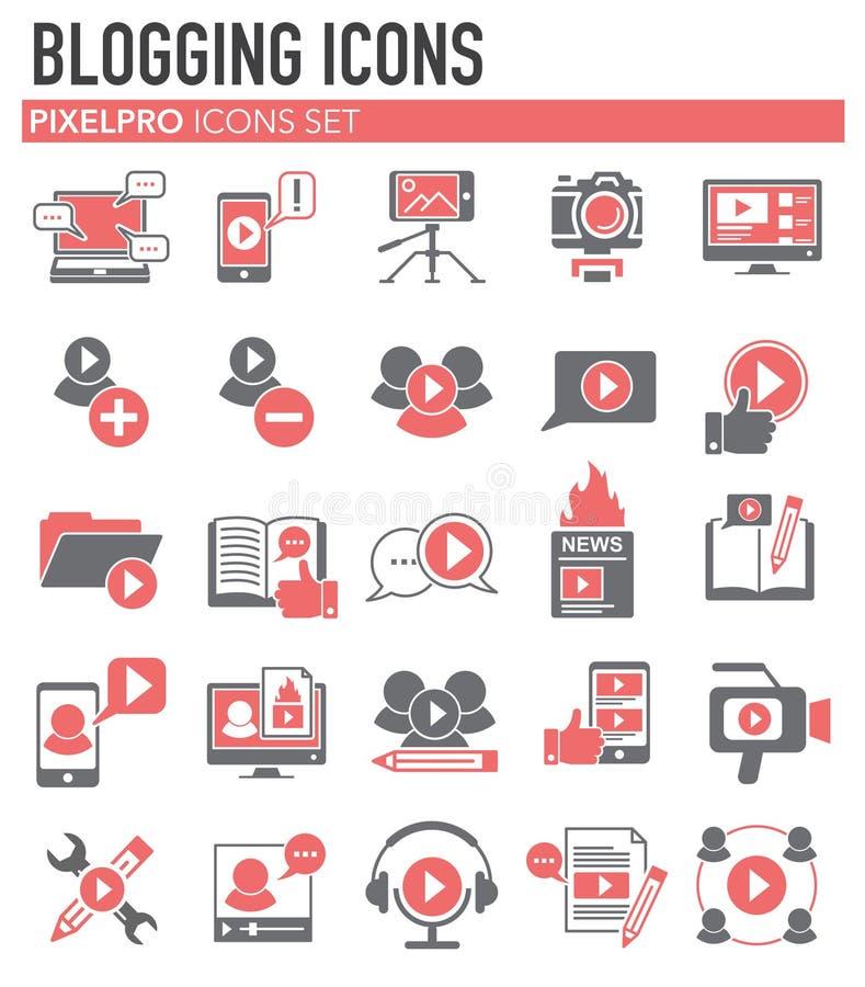 Видео- значки блога установили на белую предпосылку для графика и веб-дизайна, современного простого знака вектора интернет принц иллюстрация вектора