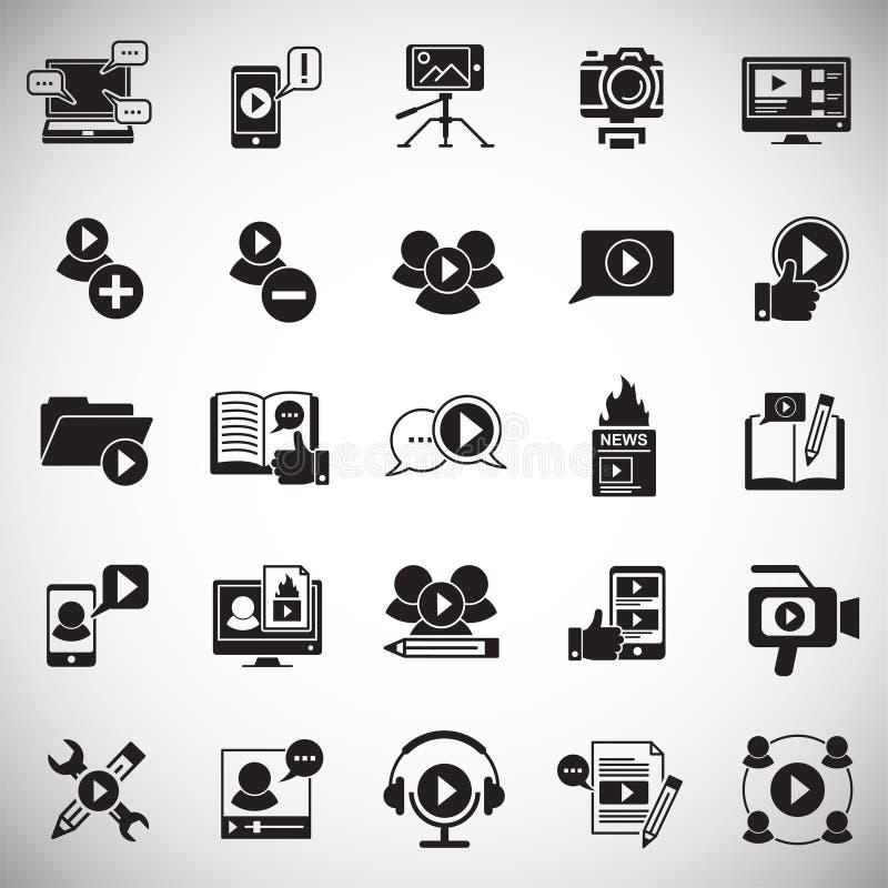 Видео- значки блога установили на белую предпосылку для графика и веб-дизайна, современного простого знака вектора интернет принц иллюстрация штока
