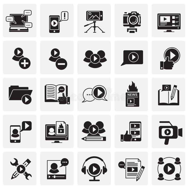 Видео- значки блога установили на предпосылку квадратов для графика и веб-дизайна, современного простого знака вектора интернет п иллюстрация штока