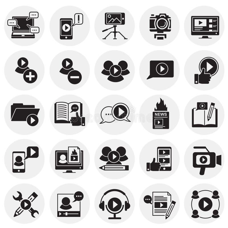 Видео- значки блога установили на предпосылку кругов для графика и веб-дизайна, современного простого знака вектора интернет прин иллюстрация вектора