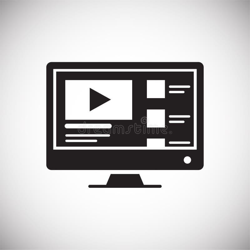 Видео- значок содержания блога на белой предпосылке для графика и веб-дизайна, современного простого знака вектора интернет принц иллюстрация штока
