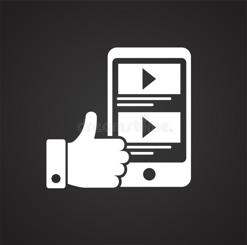 Видео- значок обратной связи блога на черной предпосылке для графика и веб-дизайна, современного простого знака вектора интернет  бесплатная иллюстрация