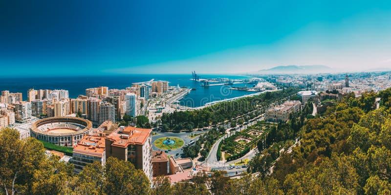 Вид с воздуха городского пейзажа панорамы Малаги, Испании стоковые фото