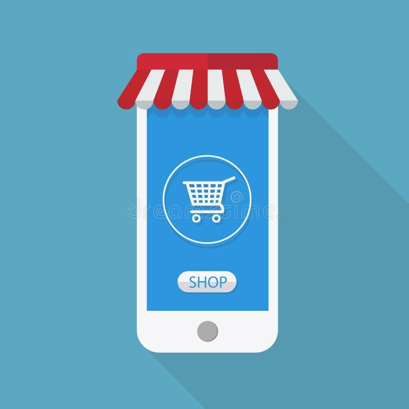 Внезапный дизайн с длинной тенью умный телефон со значком диаграммы на экране Концепция ходит по магазинам на линии умным телефон бесплатная иллюстрация