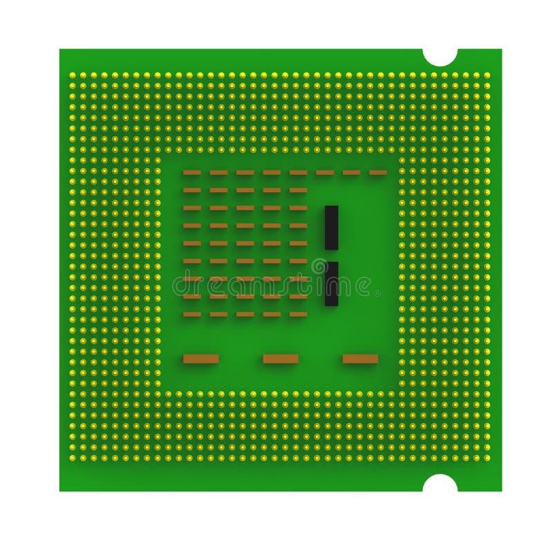 Внизу взгляд микросхемы устройства обработки данных C.P.U. центральной изолированной на белой предпосылке иллюстрация вектора