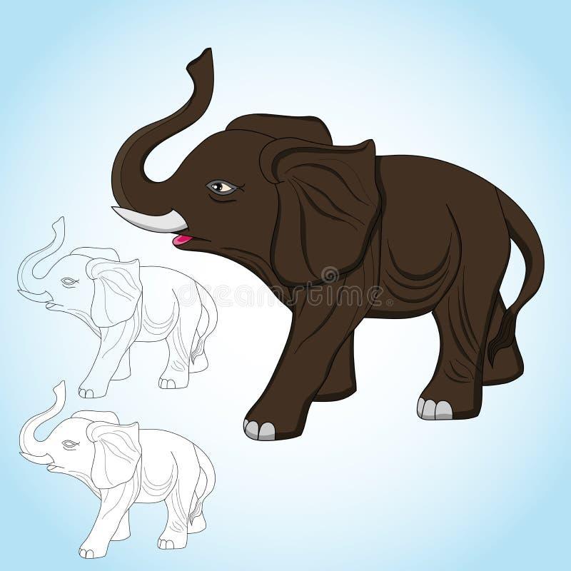 Внушительный вектор слона с линией изображением искусства иллюстрация вектора
