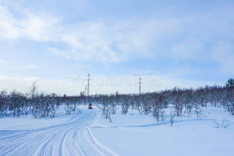 Всадник на снегоходе в лыжном курорте гор в Amut России стоковое изображение rf