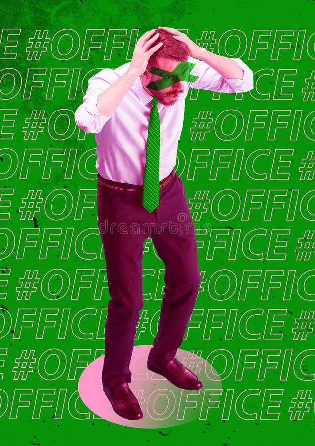 Вспугнутый и сотрясенный бизнесмен под давлением босса иллюстрация вектора