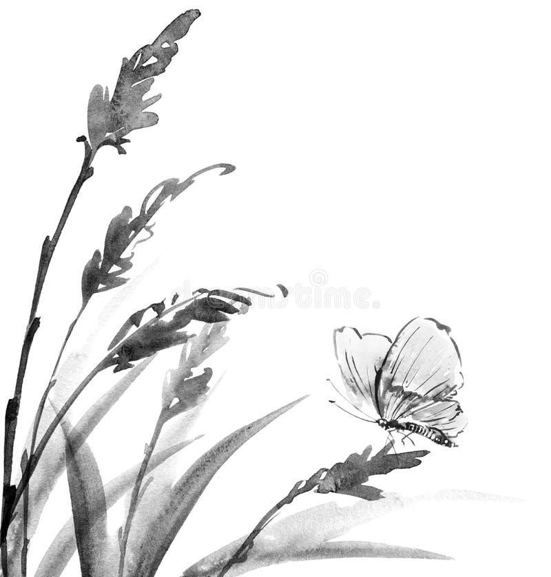 всход завода сада падения бабочки иллюстрация штока