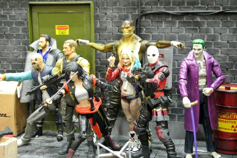 Выбранный сфокусированный на фигурке масштаба отряда суицида модельной от комиксов и фильмов DC стоковая фотография