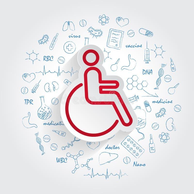 Выведенный из строя значок в ультрамодном стиле изолированный на handdrawn предпосылке doodles здравоохранения Неработающий симво иллюстрация вектора