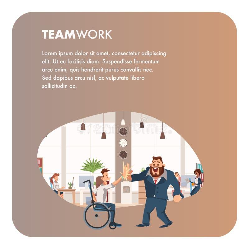 Выведенный из строя сотрудник дает высокие 5 человеку офиса иллюстрация штока