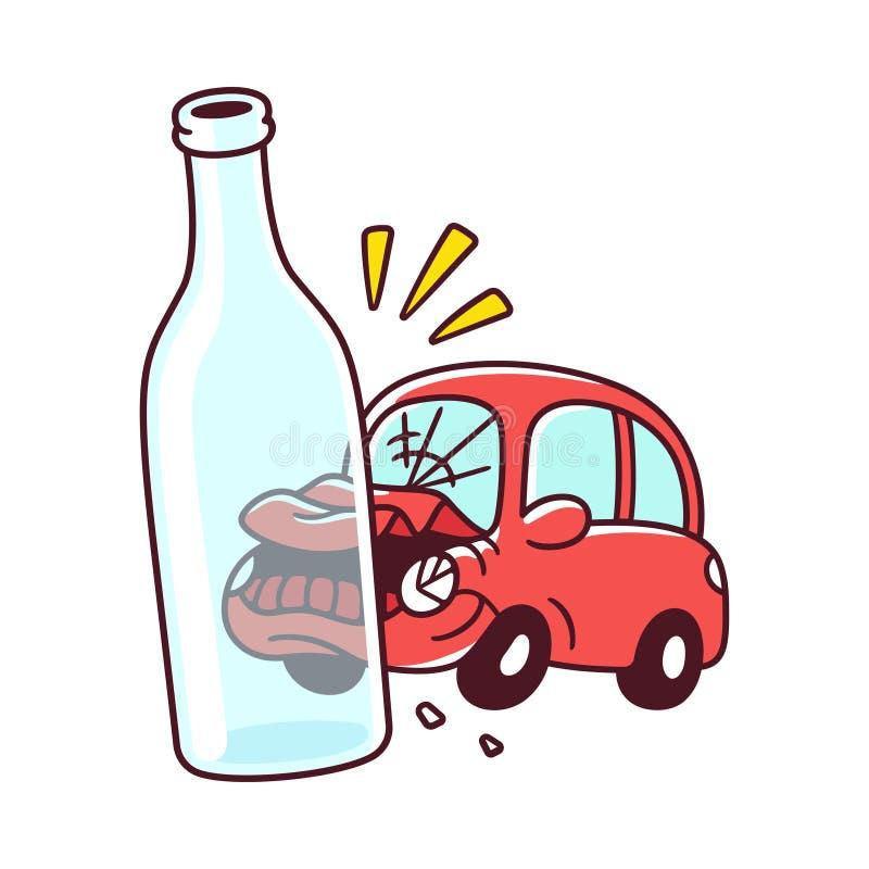 выпитый управлять аварии иллюстрация вектора