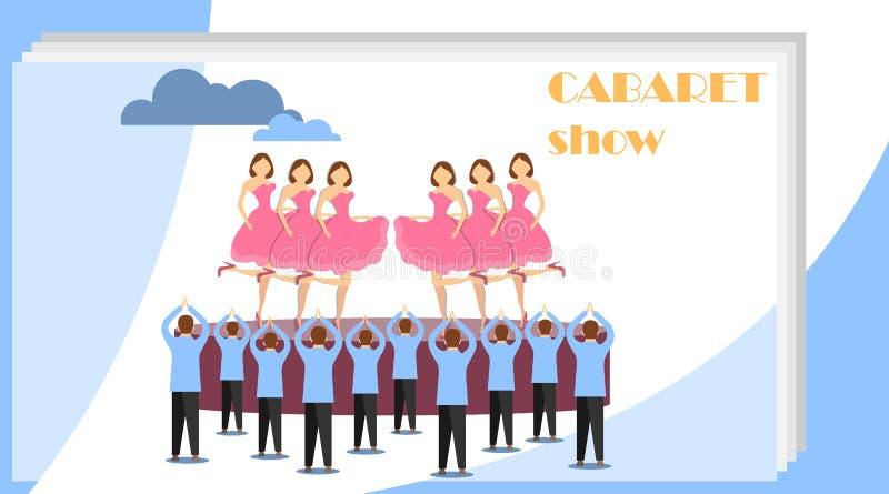 Выставка кабара Женщины танцуют в кабаре на этапе пока люди стоят аплодирующ им иллюстрация вектора