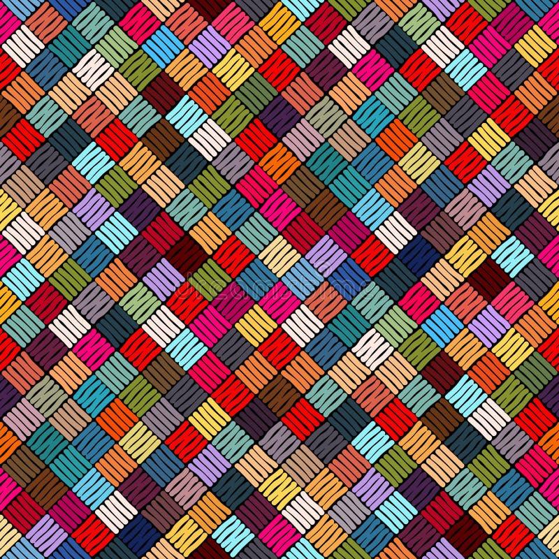 Вышивка или покрашенное повторение текстуры картины ткани безшовные Вышитая безшовная геометрическая картина Орнамент для ковра иллюстрация штока