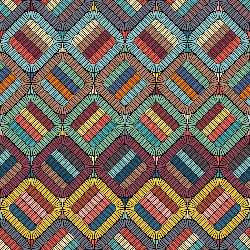 Вышивка или покрашенное повторение текстуры картины ткани безшовные handmade Этнические и племенные мотивы Печать в богемском сти иллюстрация вектора