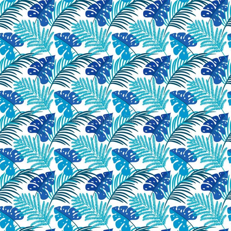 выходит тропическими Безшовная текстура с листьями яркой руки вычерченными Monstera Взамопонимание весны для печати, бумаги, Swim бесплатная иллюстрация