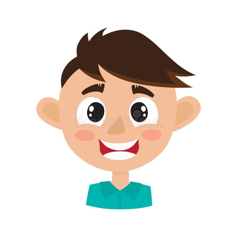 Выражение стороны мальчика счастливое, иллюстрации вектора мультфильма изолированные на белизне бесплатная иллюстрация