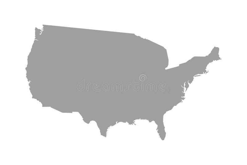 Высокая детальная карта вектора - Соединенные Штаты иллюстрация вектора