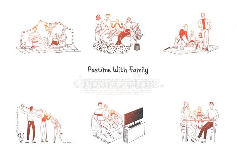Времяпровождение с семьей - семьями читая, имеющ остатки, смотрящ ТВ, украшающ плоско, играя иллюстрация штока