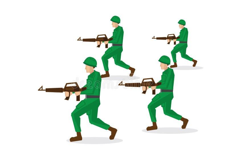 Военные солдаты в зеленой форме бежать и атакуя иллюстрация штока