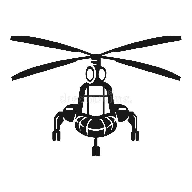 Военный вертолет в переднем значке, простом стиле иллюстрация вектора